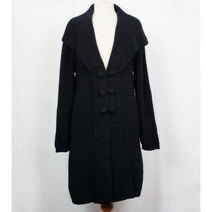Vintage 90s Black Long Alpaca Cardigan Sweater XL